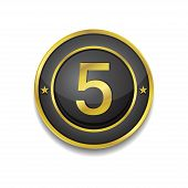 5 Number Circular Vector Golden Black Web Icon Button