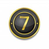 7 Number Circular Vector Golden Black Web Icon Button