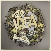 Idea hand lettering and doodles cartoon elements background
