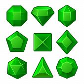 Set of Green Gems for Match3 Games. Vector