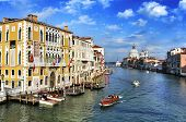 VENICE, ITALY - APRIL 12: View of the Grand Canal from Ponte dell Accademia on April 12, 2013 in Ven