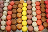 assorted french multicolored macaroons on wooden table