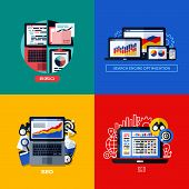 Modern Flat Vector Concepts Of Search Engine Optimization (seo). Icons Set For Websites, Mobile Apps