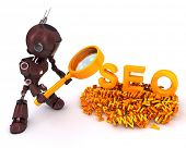 3D Render of a robot search engine optimization