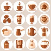 Coffee icons set in minimalistic flat style. Vector illustration.