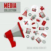 Media icons set in minimalistic style. Vector illustration.