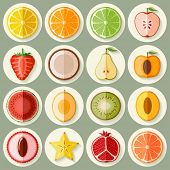 Vector fruit icon set in flat style. Template elements for web and mobile applications.