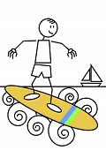 Stick Figure Surfing