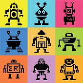pixel robot icons