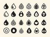 Set of Various Black Water Drop Icons on White Background