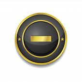Minus Circular Vector Golden Black Web Icon Button