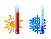 Red And Blue Thermometers