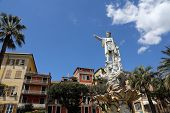 SANTA MARGHERITA TOWN, LIGURIA, ITALY - MAY 04: Monument to Christopher Columbus (by Odoardo Tabacch