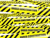 Under construction concept background - yellow warning caution ribbon tape on white background with