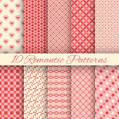 10 Romantic vector seamless patterns (tiling)