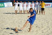 MOSCOW, RUSSIA - JULY 13, 2014: Ragnar Rump, Estonia performs penalty shoot-out in the match with Ka