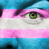 Transgender Flag Painted On Face  To Show Transgender Pride Support