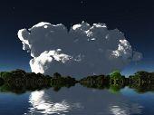 Cloud on watery islands horizon