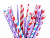 Colorful straws isolated on white