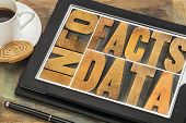 information, data, facts word abstract in vintage letterpress wood type printing blocks on a digital
