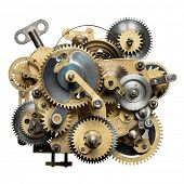 stock photo of time machine  - Stylized metal collage of clockwork - JPG