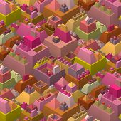 3D Stylized Futuristic City In Multiple Bright Color