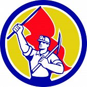 Coal Miner Hardhat Holding Axe And Flag Retro