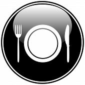 Fork, Plate And Knife Button