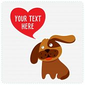 Cute dog with heart. Place for your text. Vector