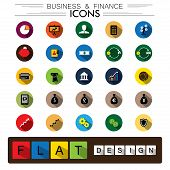 Business, Finance & Internet E-commerce Flat Design Vector Icons Set