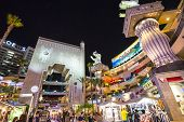 HOLLYWOOD, CALIFORNIA - NOVEMBER 8, 2013: Hollywood and Highland complex at night.  Located along th