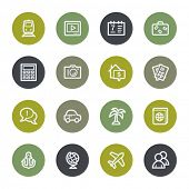 Travel web icons set, color buttons