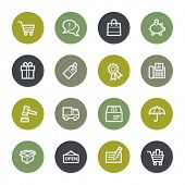Shopping web icons set, color buttons