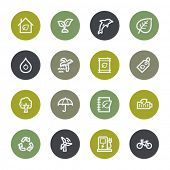 Eco web icons set, color buttons