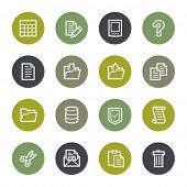 Document web icons set, color buttons