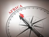 Abstract Compass Needle Pointing The Destination Africa