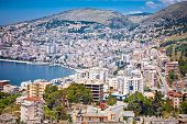 picture of albania  - Panoramic view on Saranda city at suny day - JPG