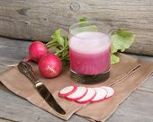 image of radish  - Fresh radish smoothy juice and radish on the table - JPG