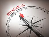 Abstract Compass Needle Pointing The Word Business