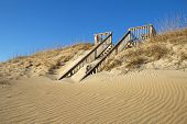 Sand-covered Stairway To A Beach In North Carolina