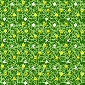 Green Grass Field With Small Flower Seamless Vector For Pattern And Background