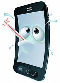 picture of maliciousness  - An unwell mobile phone mascot character overheating and sweating with a thermometer in its mouth - JPG
