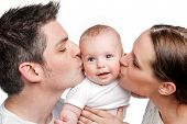 Parents Kissing Happy Baby