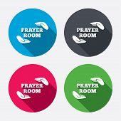 Prayer room sign icon. Religion priest symbol.