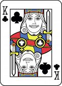 Stylized King of Clubs with strong outline