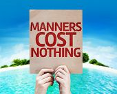 picture of politeness  - Manners Cost Nothing card with a beach background - JPG