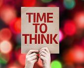Time to Think card with colorful background with defocused lights