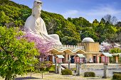 Kyoto, Japan at Ryozen Kannon war memorial in the spring season.