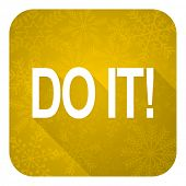 do it flat icon, gold christmas button