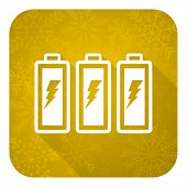 battery flat icon, gold christmas button, power sign